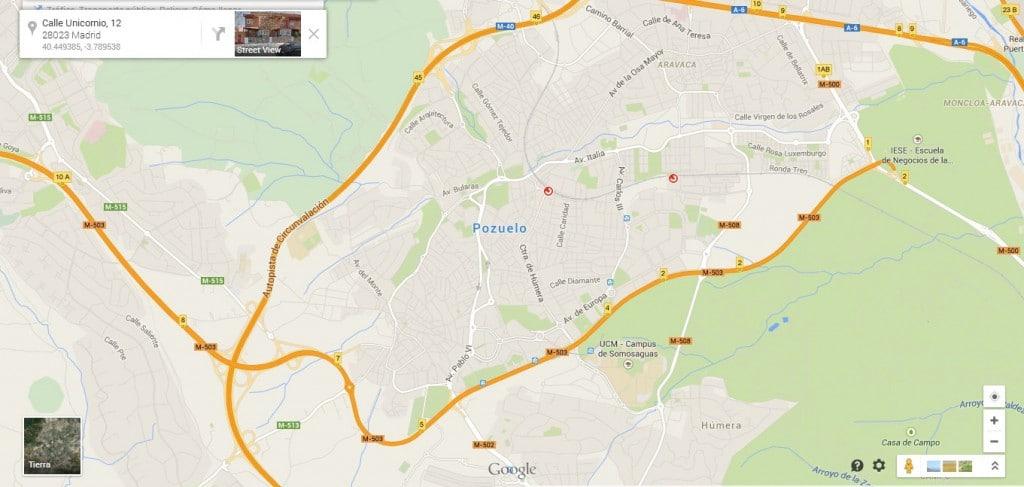 como llegar a Pozuelo Madrid mapa