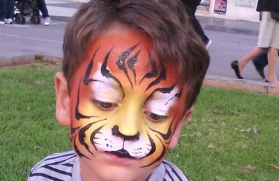 maquillaje de fantasia niño tigre